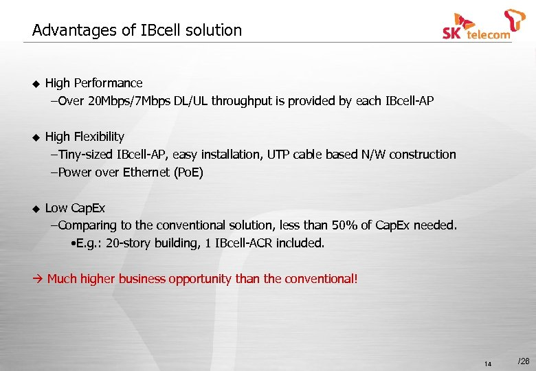 Advantages of IBcell solution u High Performance –Over 20 Mbps/7 Mbps DL/UL throughput is