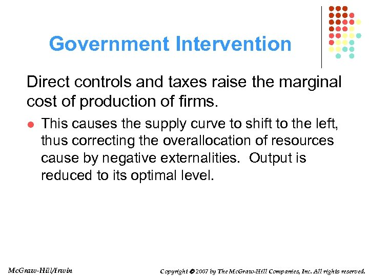 Government Intervention Direct controls and taxes raise the marginal cost of production of firms.