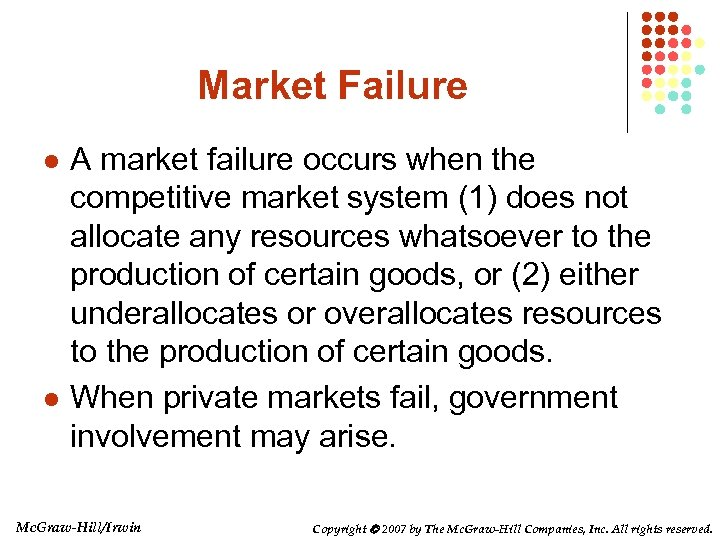 Market Failure l l A market failure occurs when the competitive market system (1)