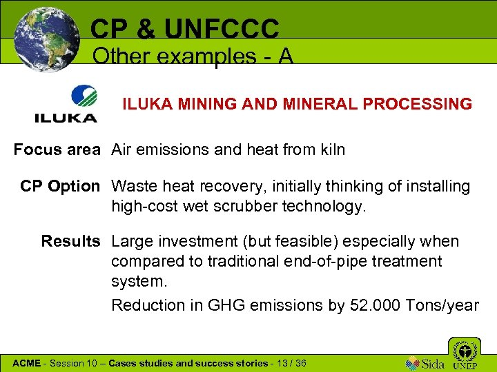 CP & UNFCCC Other examples - A ILUKA MINING AND MINERAL PROCESSING Focus area