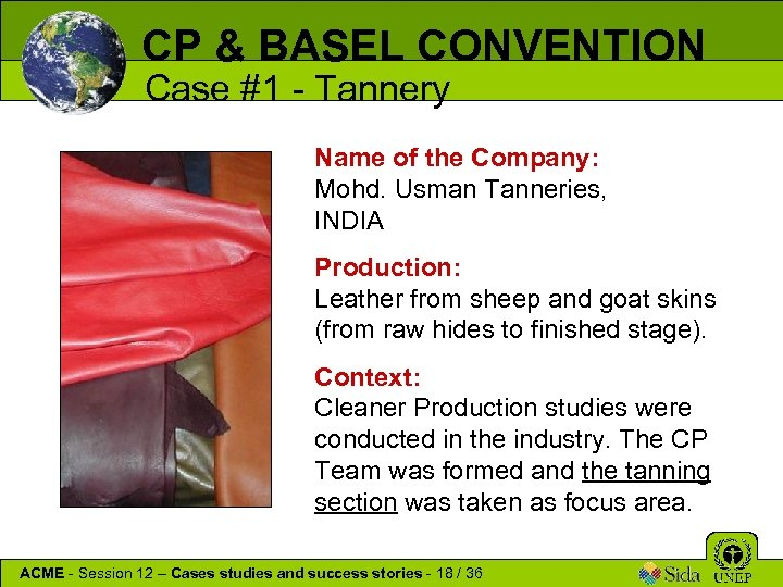 CP & BASEL CONVENTION Case #1 - Tannery Name of the Company: Mohd. Usman