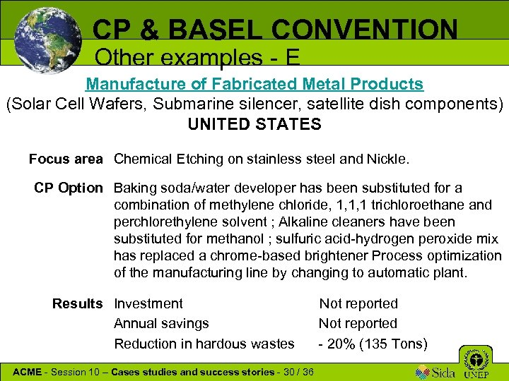 CP & BASEL CONVENTION Other examples - E Manufacture of Fabricated Metal Products (Solar