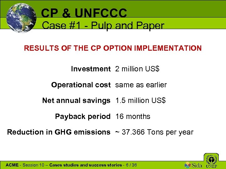CP & UNFCCC Case #1 - Pulp and Paper RESULTS OF THE CP OPTION