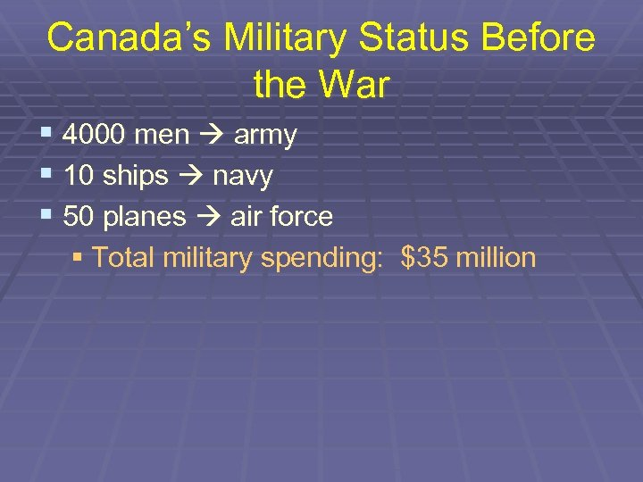 Canada's Military Status Before the War § 4000 men army § 10 ships navy