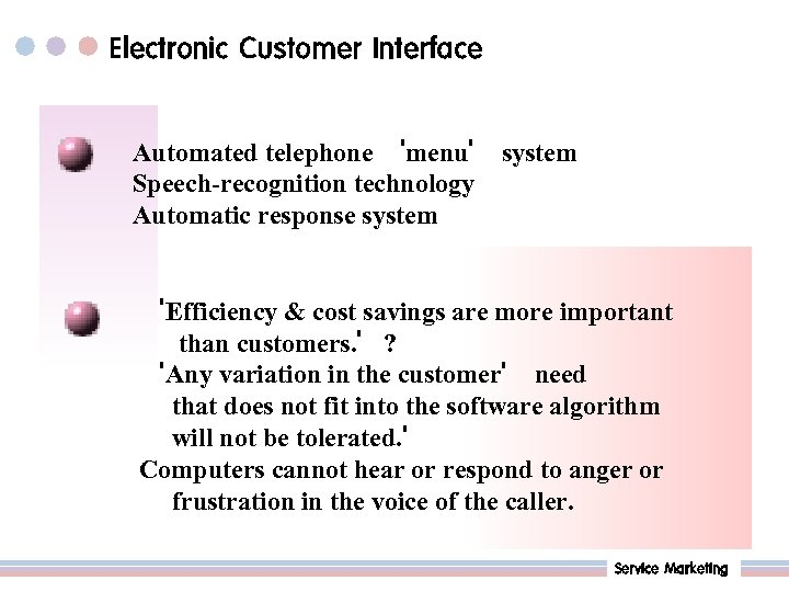 Electronic Customer Interface Automated telephone 'menu' system Speech-recognition technology Automatic response system 'Efficiency &