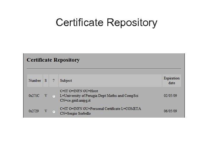 Certificate Repository
