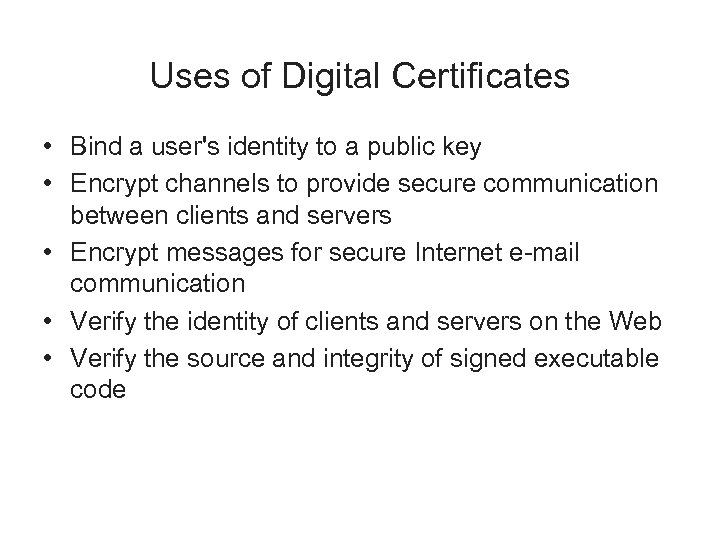 Uses of Digital Certificates • Bind a user's identity to a public key •