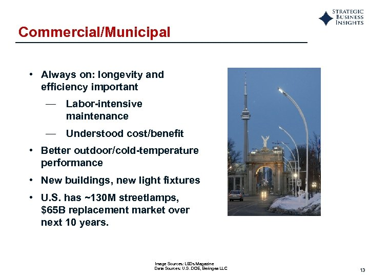 Commercial/Municipal • Always on: longevity and efficiency important — Labor-intensive maintenance — Understood cost/benefit