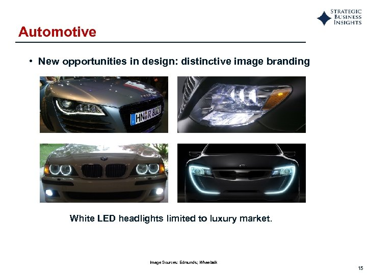 Automotive • New opportunities in design: distinctive image branding White LED headlights limited to