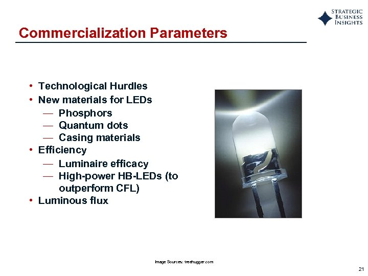 Commercialization Parameters • Technological Hurdles • New materials for LEDs — Phosphors — Quantum