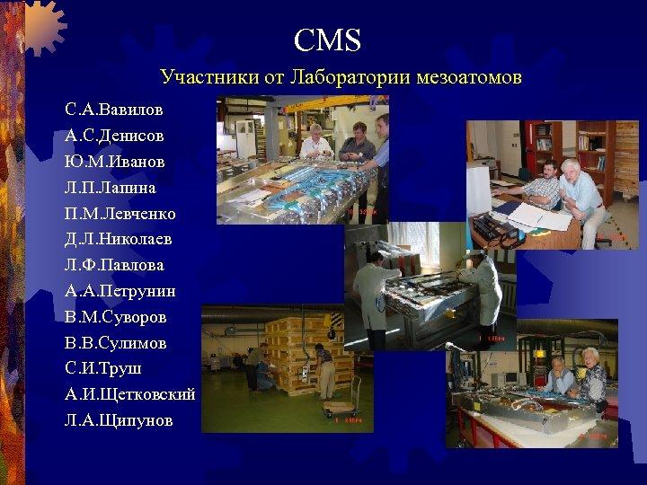 CMS Участники от Лаборатории мезоатомов С. А. Вавилов А. С. Денисов Ю. М. Иванов