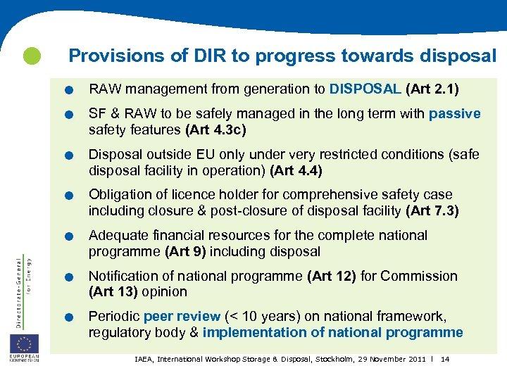 . . . . Provisions of DIR to progress towards disposal RAW management