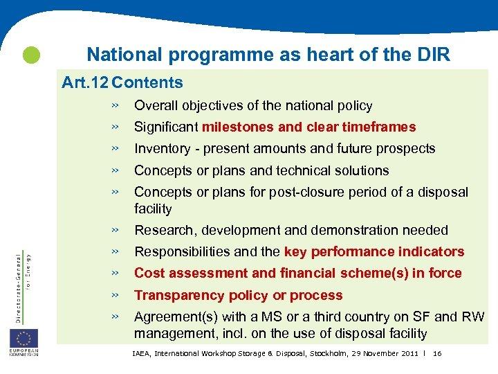 National programme as heart of the DIR Art. 12 Contents » » »