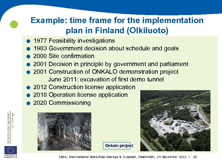 Example: time frame for the implementation plan in Finland (Olkiluoto) . . .