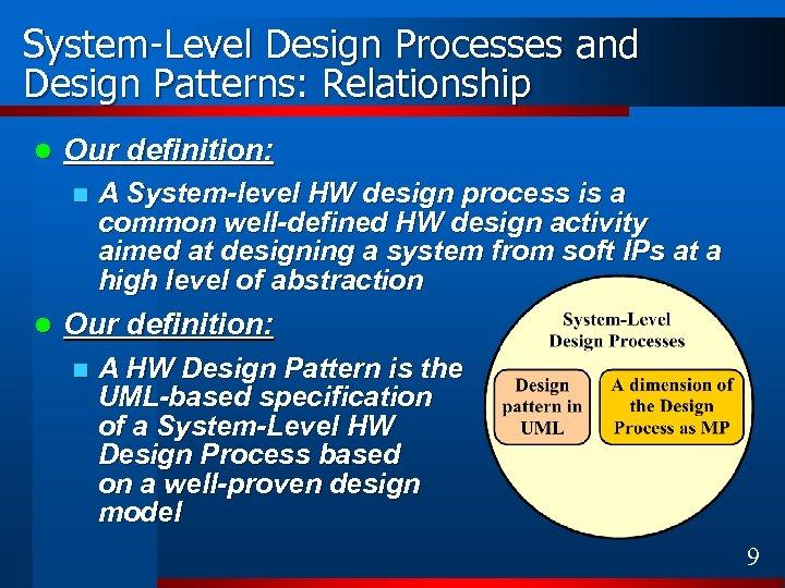 System-Level Design Processes and Design Patterns: Relationship l Our definition: n l A System-level