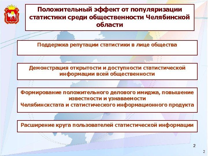 Положительный эффект от популяризации статистики среди общественности Челябинской области Поддержка репутации статистики в лице