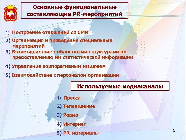 Основные функциональные составляющие PR-мероприятий 1) Построение отношений со СМИ 2) Организация и проведение специальных