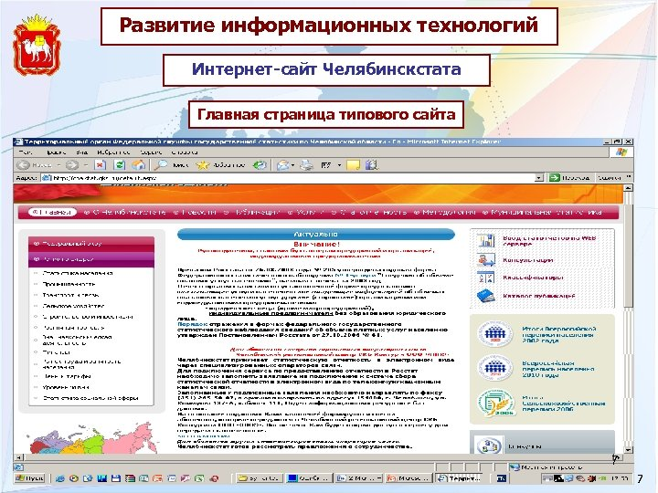 Развитие информационных технологий Интернет-сайт Челябинскстата Главная страница типового сайта 7 7