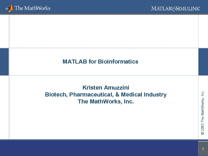 Kristen Amuzzini Biotech, Pharmaceutical, & Medical Industry The Math. Works, Inc. © 2003 The