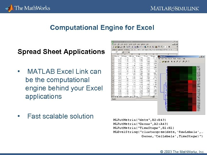 Computational Engine for Excel Spread Sheet Applications • MATLAB Excel Link can be the