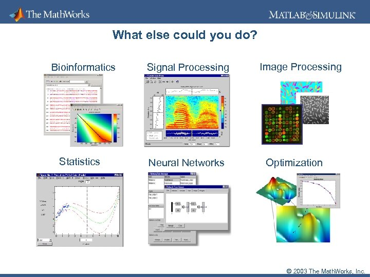 What else could you do? Bioinformatics Statistics Signal Processing Neural Networks Image Processing Optimization