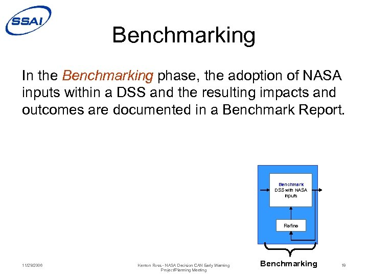 Benchmarking In the Benchmarking phase, the adoption of NASA inputs within a DSS and