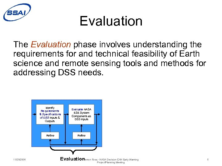 Evaluation The Evaluation phase involves understanding the requirements for and technical feasibility of Earth