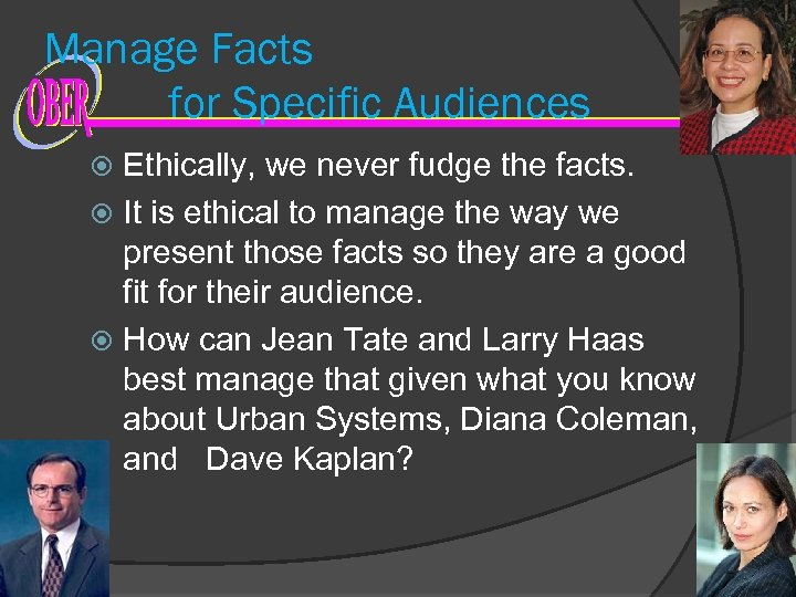 Manage Facts for Specific Audiences Ethically, we never fudge the facts. It is ethical