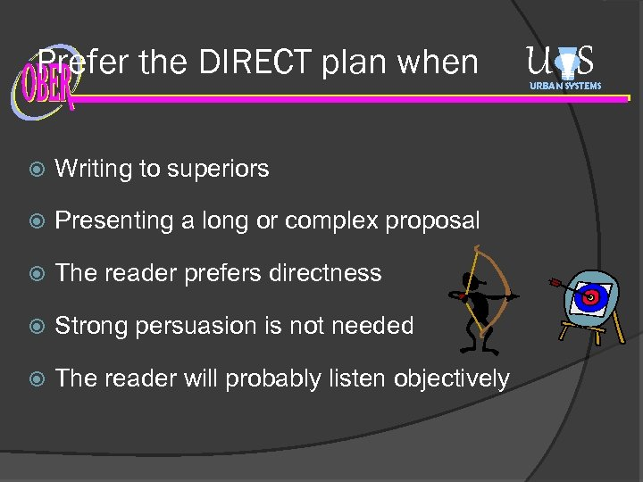 Prefer the DIRECT plan when Writing to superiors Presenting a long or complex proposal