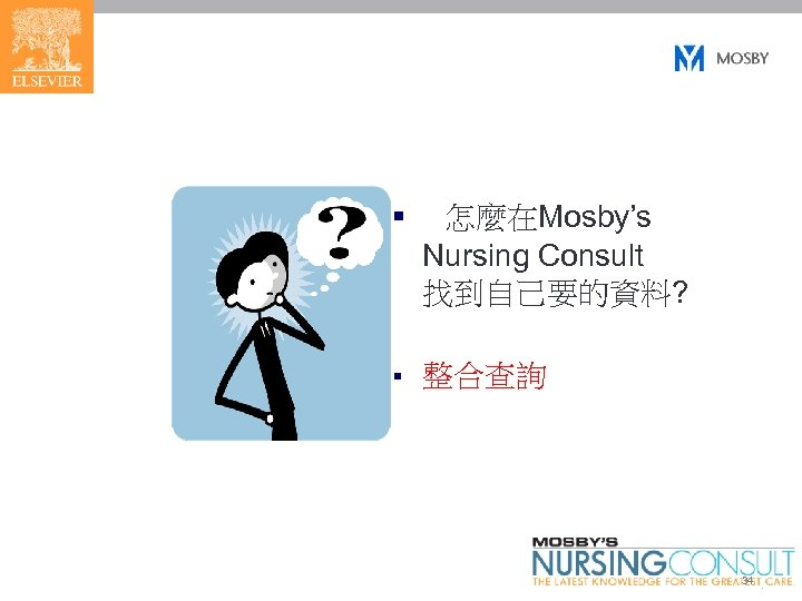 § 怎麼在Mosby's Nursing Consult 找到自己要的資料? § 整合查詢 34