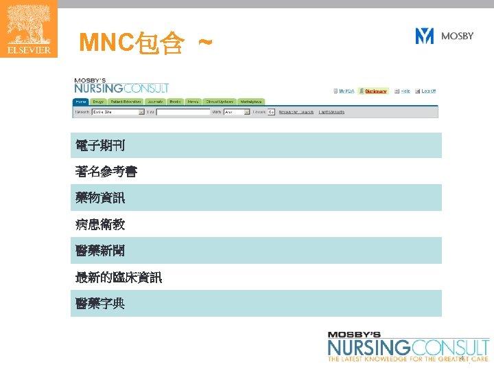 MNC包含 ~ 電子期刊 著名參考書 藥物資訊 病患衛教 醫藥新聞 最新的臨床資訊 醫藥字典 4