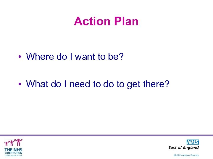 Action Plan • Where do I want to be? • What do I need