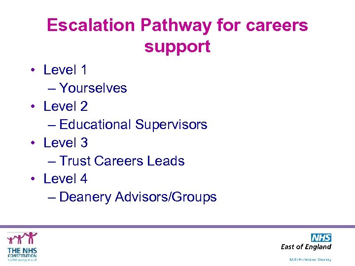 Escalation Pathway for careers support • Level 1 – Yourselves • Level 2 –