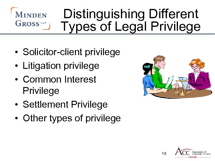 Distinguishing Different Types of Legal Privilege • Solicitor-client privilege • Litigation privilege • Common