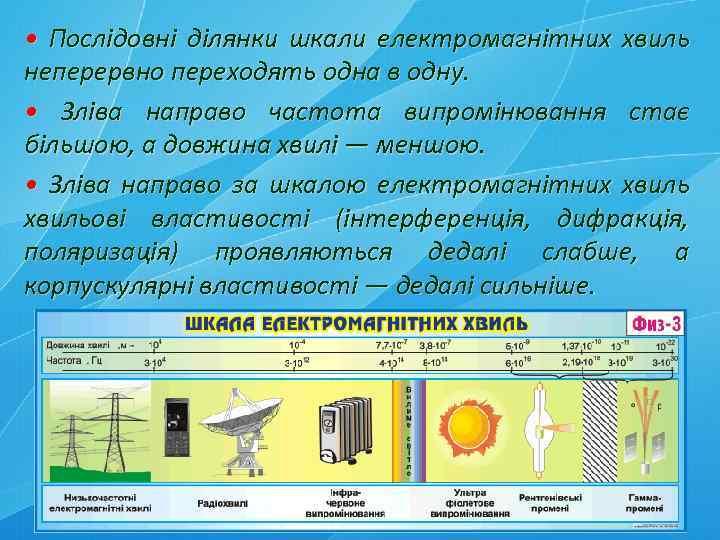 • Послідовні ділянки шкали електромагнітних хвиль неперервно переходять одна в одну. • Зліва