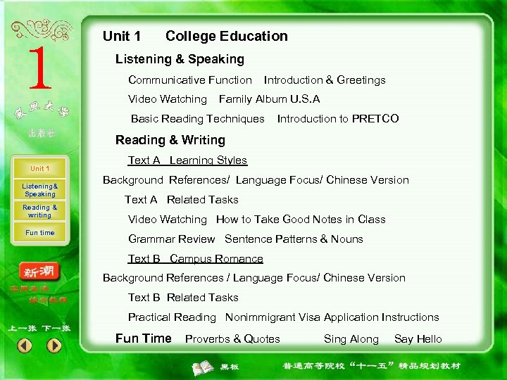 Unit 1 College Education Listening & Speaking Communicative Function Video Watching Introduction & Greetings