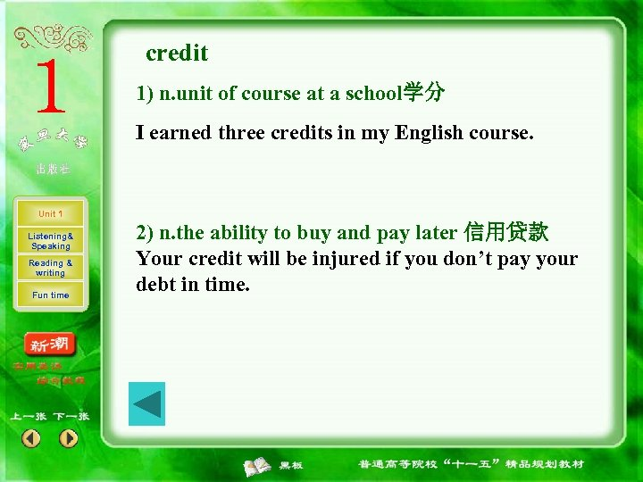 credit 1) n. unit of course at a school学分 I earned three credits in