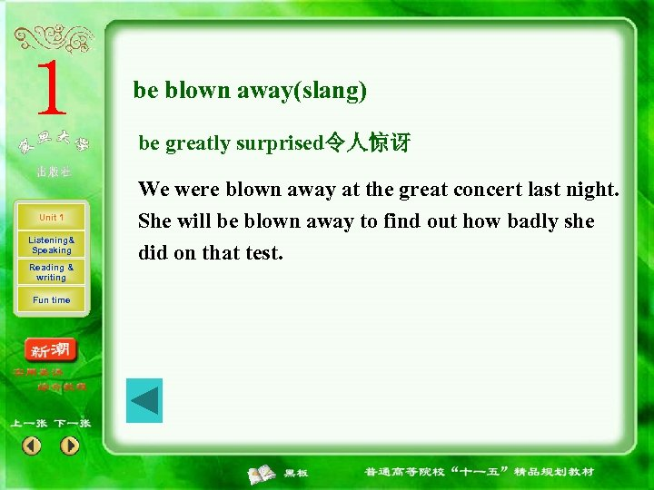 be blown away(slang) be greatly surprised令人惊讶 Unit 1 Listening& Speaking Reading & writing Fun
