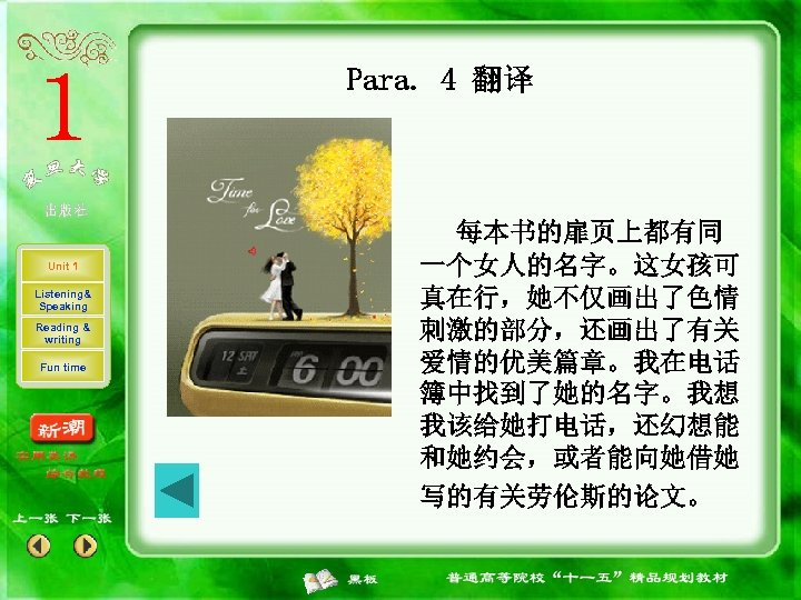 Para. 4 翻译 Unit 1 Listening& Speaking Reading & writing Fun time 每本书的扉页上都有同 一个女人的名字。这女孩可