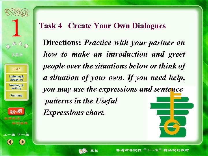 Task 4 Create Your Own Dialogues Unit 1 Listening& Speaking Reading & writing Fun