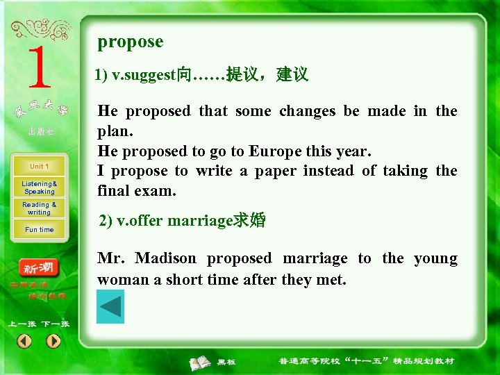 propose 1) v. suggest向……提议,建议 Unit 1 Listening& Speaking Reading & writing Fun time He