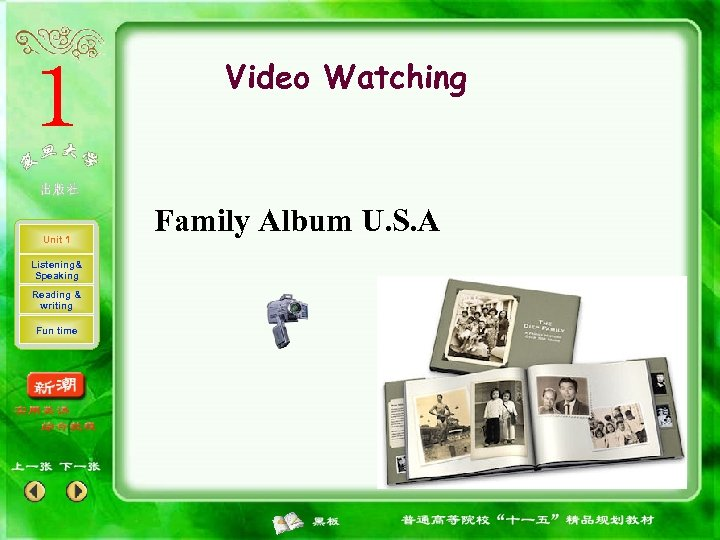Video Watching Unit 1 Listening& Speaking Reading & writing Fun time Family Album U.