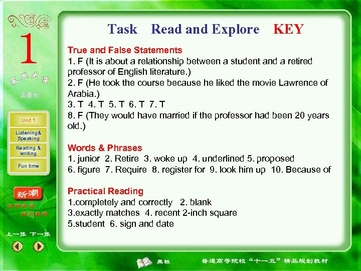 Task Unit 1 Listening& Speaking Reading & writing Fun time Read and Explore KEY