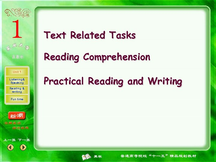 Text Related Tasks Reading Comprehension Unit 1 Listening& Speaking Reading & writing Fun time