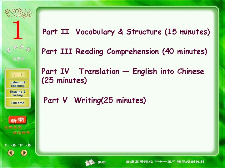 Part II Vocabulary & Structure (15 minutes) Part III Reading Comprehension (40 minutes) Unit