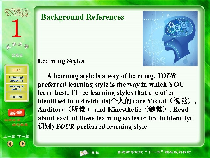 Background References Learning Styles Unit 1 Listening& Speaking Reading & writing Fun time A