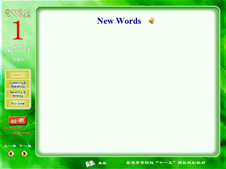 New Words Unit 1 Listening& Speaking Reading & writing Fun time