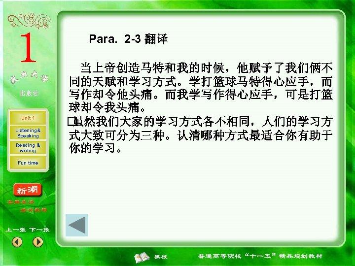 Para. 2 -3 翻译 Unit 1 Listening& Speaking Reading & writing Fun time 当上帝创造马特和我的时候,他赋予了我们俩不