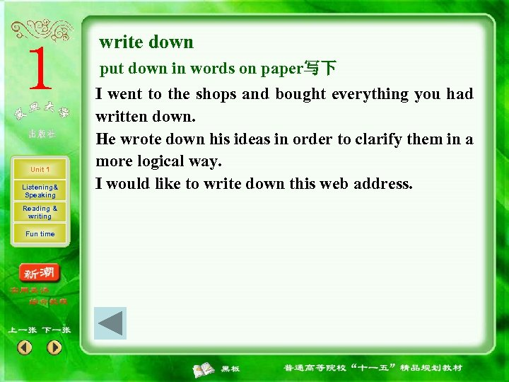 write down put down in words on paper写下 Unit 1 Listening& Speaking Reading &