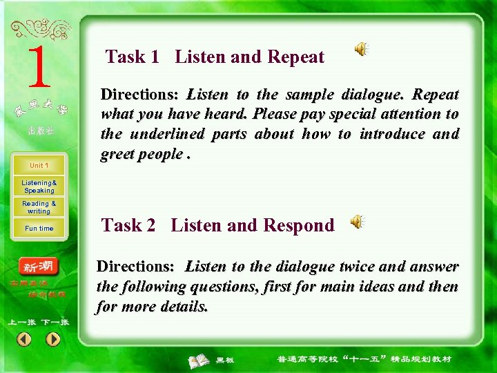 Task 1 Listen and Repeat Unit 1 Directions: Listen to the sample dialogue. Repeat